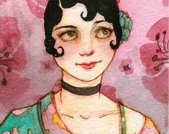 Posies for Polly -- ACEO Limited Edition Print by Amy Abshier-Reyes 19/30