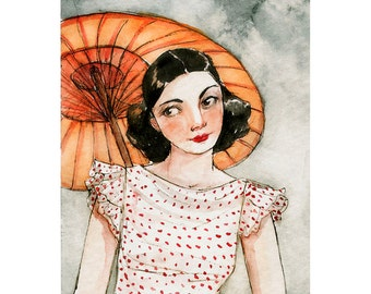 """ACEO """"Under a Borrowed Umbrella"""" Limited Edition Print by Amy Abshier Reyes 18/30"""