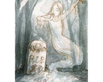 """Ghost Girl Grave Cemetery ACEO """"After the Long Nap"""" Limited Edition Print by Amy Abshier Reyes 19/30"""