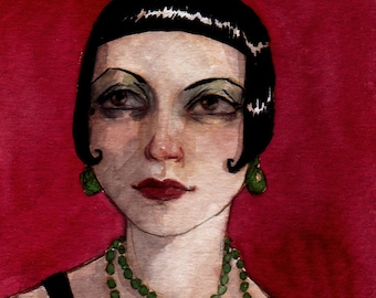 """ACEO Print Flapper Girl Portrait Art Deco""""The Dancer"""" by Amy Abshier Reyes 13/50"""