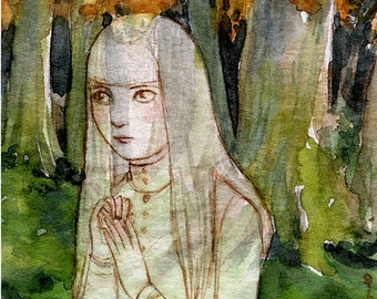 "ACEO Girl Portrait Forest Haunted Print ""The Little Lost Ghost"" by Amy Abshier Reyes 17/50"