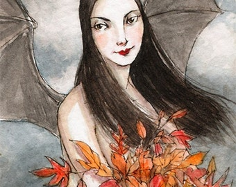 """ACEO """"Autumn Leaves""""Limited Edition Print by Amy Abshier Reyes 8/30"""