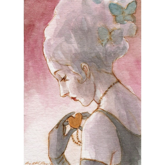 "Woman Romantic Heart Painting ACEO ""Hearts and Butterflies"" Limited Edition Print by Amy Abshier Reyes 9/30"