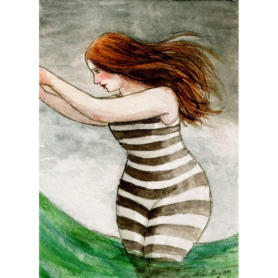 Bathing Beauty No. 1 -- ACEO Limited Edition Print by Amy Abshier Reyes 9/30