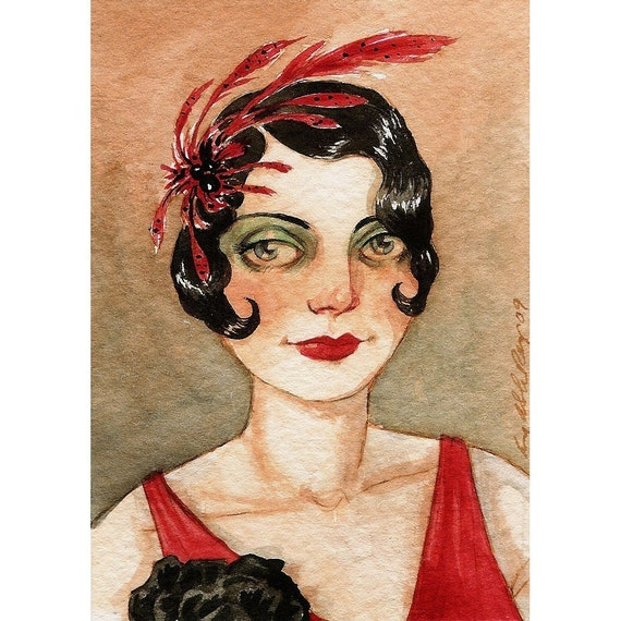 """Flapper 1920s Art Deco Red Dress ACEO """"Star Power"""" Limited Edition Print by Amy Abshier Reyes 13/60"""