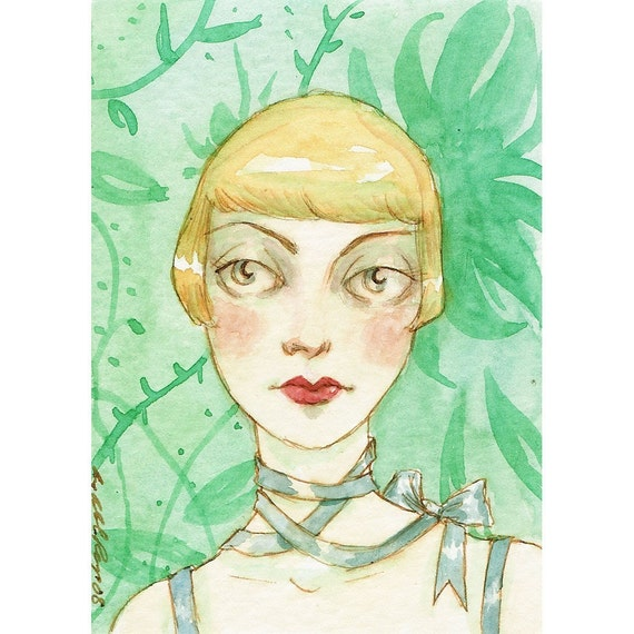 Collette and the Green Wall -- ACEO Limited Edition Print by Amy Abshier Reyes 4/30