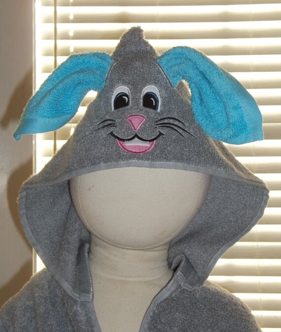 Personalized Bunny Hooded towel - Boy or Girl Bunny Hoodie Towel - Beach Cover up with Hood - Pool Towel with Embroidered Bunny - Hood Towel