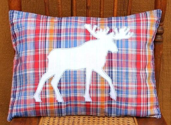 Moose on Vintage Plaid Applique Pillow Cover-12 x 16