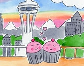 PRINT Cupcake Love at the Space Needle