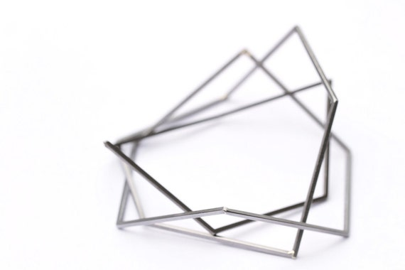 geometric steel bracelets / set of three in extra small