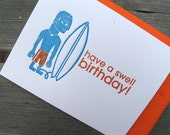 INVENTORY SALE - Swell Birthday Surfer - single letterpressed card