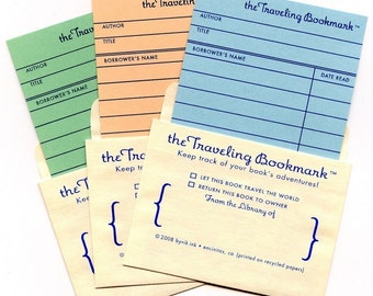 3-Pack of Traveling Bookmarks - library card bookmarks and pockets