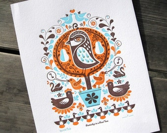 PRINT SALE - Partridge in a Pear Tree Print - orange/aqua/brown - marked down 50%