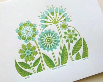 Summer Garden Print - aqua/green