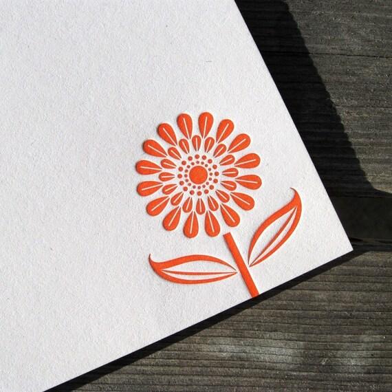 Orange Daisy - 8 pk flat note cards