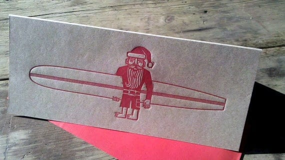 Longboard Santa - 6 pk of letterpressed cards