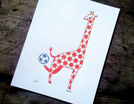 Soccer Giraffe Print