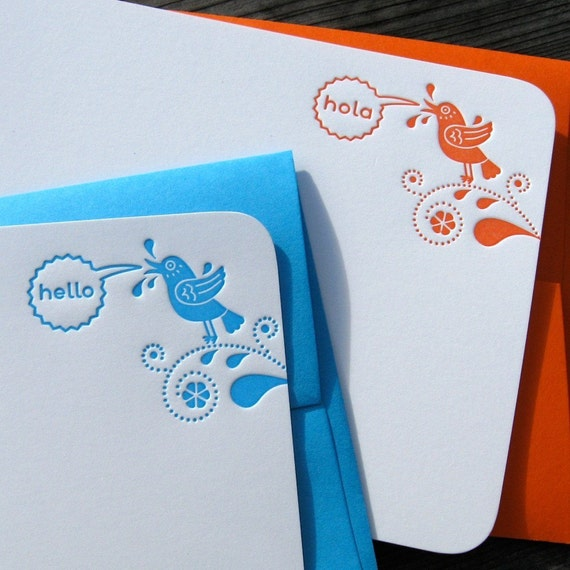 Bilingual Birds - set of 8 flat cards