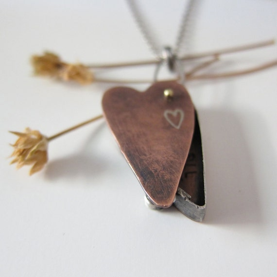 "Copper and Silver  ""you fill my life with love"" Heart Necklace"