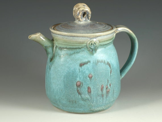 Pottery teapot in turquoise glaze 3.5 cups loose leaf