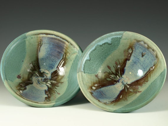 A pair of Eating Bowl in turquoise blue handmade stoneware cereal bowl