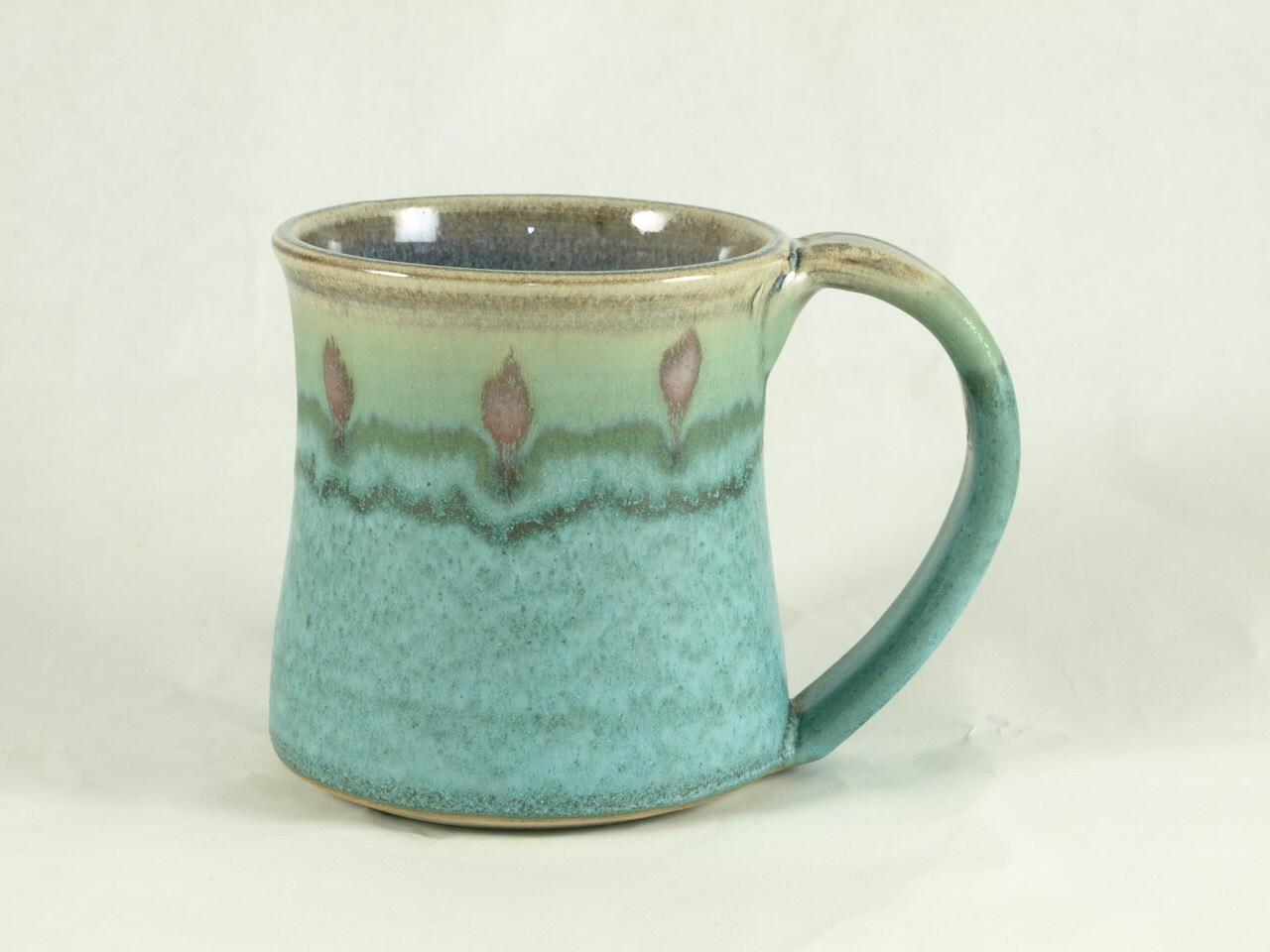 Coffee Mug Cup Ceramic Mugs With Large Handle Turquoise