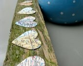 Vintage Maps Paper Garland with Hearts, 10 FEET LONG