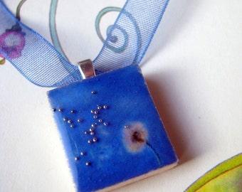Scrabble tile pendant, Dandelion / Maslacak, Scrabble piece charm