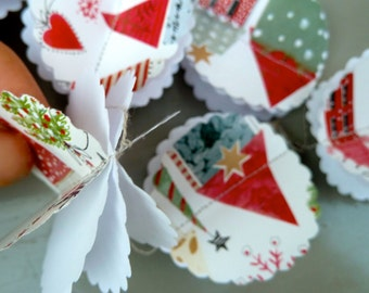Xmas, Noel, Christmas decorations, Paper Garland, CHRISTMAS Garland, Les Maison de NOEL, Birthday Party Garland, Home Decoration