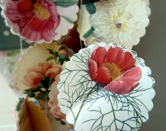 Easter decorations, Paper garland, Peony, spring wedding decor, rustic wedding, country wedding, French country, flower garland