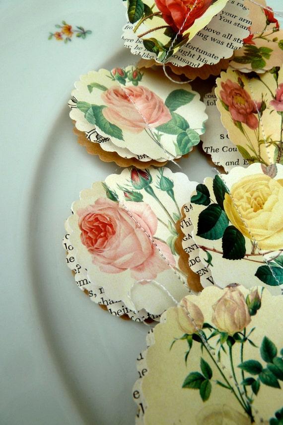 Summer wedding decor, ROSE, Summer party decorations, Paper garland, wedding garland, blush wedding, pink roses, paper roses, flower garland