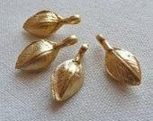 4 Earthy Pod Charms, Gold Plated
