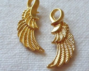 2 Wing Charms, 22K Gold Plated