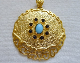 Blue and Black Exotic Fretworked Medallion Pendant, 22K Gold Plating