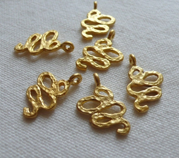 6 Hammered Snake Charms, Matte Gold Plated