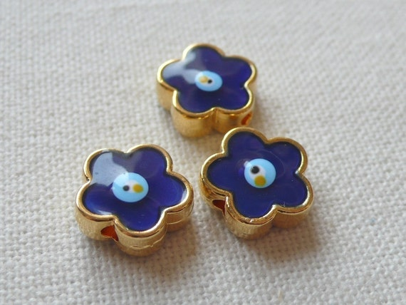 SPECIAL 3 Gold Plated Enameled Flower Beads with Blue Eyes