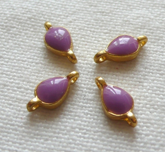 SPECIAL 4 LILAC Enameled Teardrop or Bindi Connectors