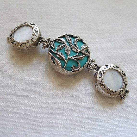 Chunky Intricate Leaf Focal, Silver Plated, Turquoise and Mother of Pearl