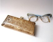Vintage Mod Cat Eye Glasses with case silver gold blue tone sparkly size small, child