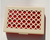 Vintage Hickok hinged box circles plastic ivory red