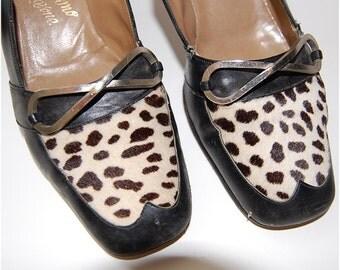 Vintage Shoes, heels, fur black metal size 6 and a half