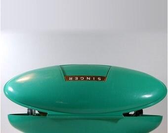 Singer mid century Atomic Aqua Buttonholer vintage sewing machine parts midcentury design