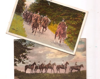 two vintage linen postcards horses calvary