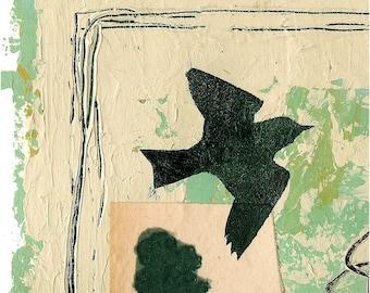 August Bird digital print of original painting collage