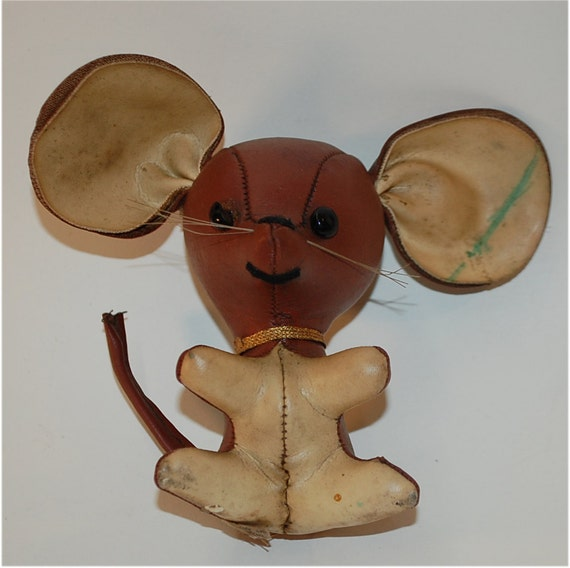 vintage leatherette toy mouse