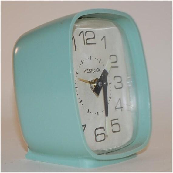 Mint Green Vintage mid century modern plastic Westclox clock