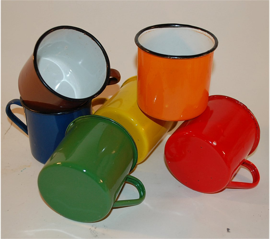 Six Vintage Enamel Mugs Camping Kitchen Use