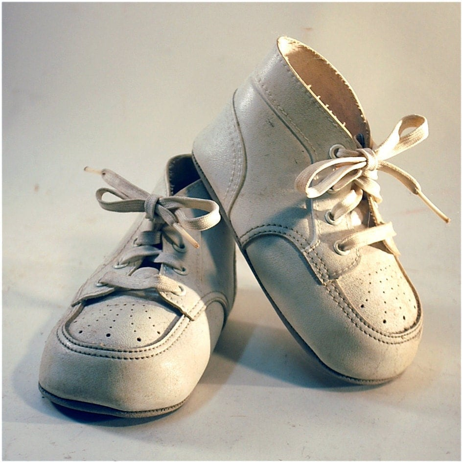 precious moments vintage baby shoes white ivory 1950s 1960s