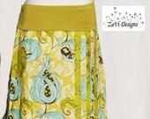 Aqua budding flowers, yoga waist skirt
