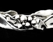 Sterling Silver Cuff Bracelet Berries and Leaves - narrow